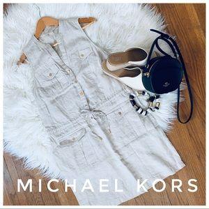 MICHAEL KORS linen vneck dress
